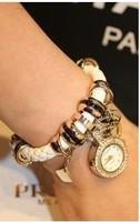 free shipping New weave belt diamond watch fashion personality female table set auger fashion bracelet watch pendant table