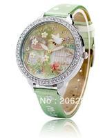 MNS1050 MINI watch double layer glass 3D Secret Garden watch DIY Handmade Genuine Leather Quartz Ladies watch 1pc+free shipping