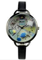 MNS880B MINI watch double layer glass 3D blue teapot watch DIY Handmade Genuine Leather Quartz Ladies watch 1pc+free shipping