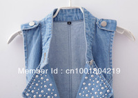 fashion women vest jeans windproof denim sleeveless jacket WF1001 SKY BLUEcolors Hot sale