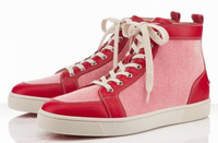 2014 Newest design free shipping pink Unisex  canvas  High Top fashion women and men sneaker Italy Flat red sole party sneaker