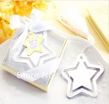 Wedding Favor - 10PCS/LOT Five-pointed Star Metal Bookmark Baby Gift Book Mark, With White Tassel Festival Christmas Gift
