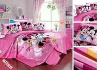 pink color mickey minnie mouse kids bedding,100% cotton pink mickey & minnie mouse comforter sheet, twin queen and king size