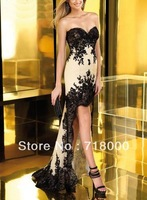 Sexy fashionable sweetheart campangne &black appliques hi-low  party dress custom made  free shipping