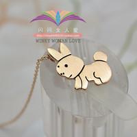 Free shipping ITALINA gold plated fashion brief titanium rabbit zodiac necklace female 699