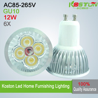 Factory Outlet 6pcs/lot  GU10 12W LED Spotlight bulbs AC85-265V  960LM  CE CREE FREE SHIPPING