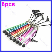 Promotion 8PCS Colorful Mini Stylus Touch Screen Pen For Mobile Phone