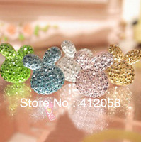 wholesale 100pcs rabbit head earphone Cap Earphone dust plug for iphone and 3.5mm plug mobile phone free shipping