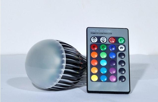 free shipping 9w rgb ac85-265v 16colors rgb led 12pcs one lot wholesale CE&RoHS certificated(China (Mainland))
