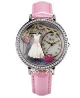 MNS1039B MINI watch double layer glass 3D dress watch DIY Handmade Genuine Leather Quartz Ladies watch 1pc+free shipping