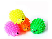 Colored hedgehog Rubber Pet Puppy Toys Sound Toys Tooth Cleaning Mix Colors Free Shipping 5.5cm(China (Mainland))