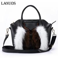 Lanuos, winter, fox fur, leather bags, leather handbags, Napa, Ms. diagonal package, free shipping,cowhide handbag messenger bag