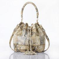 lanuos  serpentine pattern sheepskin bucket bag handbag cross-body genuine leather mmobile women's handbag 1086