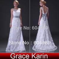 Popular Grace Karin 1pcs/lot Floor Length Long Deep V Back Lace Bridal Gown Beach Wedding Dress CL3821