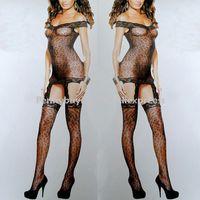 Free Shipping CX208# Woman Leopard Lace Sleepwear Women Sex Lingeie Dress Lady Sexy Chemise Fishnet Babydoll Underwear Body suit