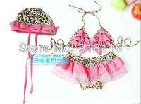 2013 Fashion Girl Leopard beachwear 2~6T Child Floral Swimsuit,Cute Kid Summer Swimwear Female Bikini (2913)