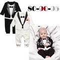 2013 new 3pcs/lot cotton baby boy's Gentleman modelling romper infant long sleeve climb clothes kids outwear free shipping