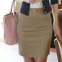 2013  Spring Summer Fashion Women's Solid Career Above Knee Short Skirt Medium Waist  Cotton Pencil skirts