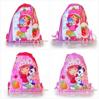 Wholesale and retail - Mixed 4 pcs/lot  kids Cartoon Drawstring Backpack Bag,Non-woven34*27CM-Strawberry Girl designs