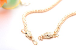 Free shipping wholesale 18K CC color Green Gold plated Snakeheads design lady women necklace.Factory price.(China (Mainland))