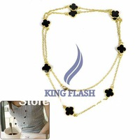 Free Shipping New Fashion Lady Golden/Silver Chain Black Flower Pendant Charm Long Necklace Free Shipping 9206