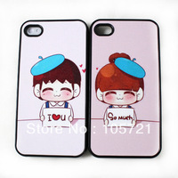 Wholesale* 2pc* New Couples/Lovers' Cute Design Pink Smile Boy,Girl  Lovely Hard Case Cover For iphone 4 4G 4GS 4S (JS0368/369)