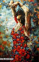 High-quality Handcraft Portrait Oil Painting,Brunette Spanish Dancer Flamenco
