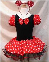 Hot Sale ! New Arrival! Minie & Mikey Dancing Tutu dress Come With Headband  Children Party Dress 5pcs/LOT Wholesale Infant