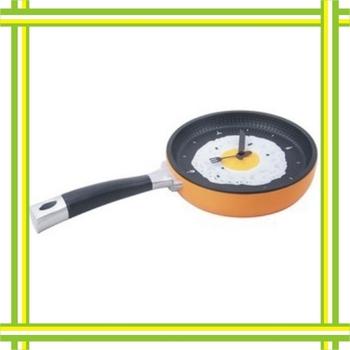 Free shipping  New Hot sale creative wall clock fried eggs pan shaped clock Stylish Fried Eggs Pot