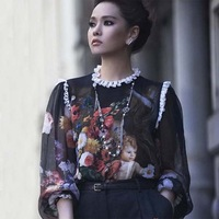 Free shipping 2013 summer and spring Fashion women's vintage oil painting print lace decoration silk top shirt