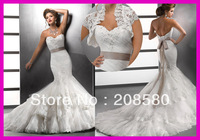 2013 Sweetheart Beaded Lace Low Back Mermaid Bridal Wedding Dresses Gowns W1556