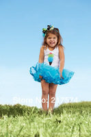 Hot Sale ! New Arrival!Free Shipping 4 pcs/lot blue Fashion Girl Children's Summer Magic Cube Tutu Dress 4 Designs Available