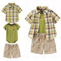 Free shipping Children&#39;s clothing single male child shirt romper shorts triangle set infant baby summer short-sleeve 5pcs