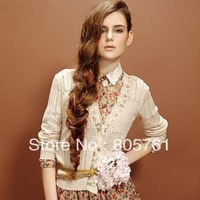 New Fahion Ladies' Sweet Lace Decoration Cardigan Female V-Neck Long-Sleeve Sweater Air Condition Shirt Free Shipping