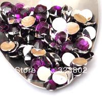 5MM Silver Plated Flatback Dark Purple Acrylic Rhinestone Button Supply for Nail Art Garment Bags Shoes Decoration-10000PCS