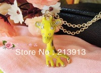 Min.order 15$ mix yellow deer sika deer necklace