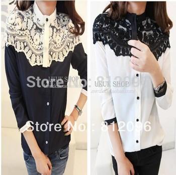 2014 new Promotions hot trendy cozy women blouse shirts jacket T-shirt Fashion Cape-style lace stitching chiffon shirt