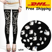 DHL Free Shipping~NEW ARRIVAL~2013 fashion women&#39;s ankle length leggings 100% cotton glass rhinestone Capris/pants/jeans~vq538