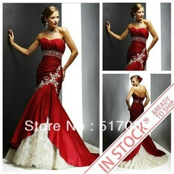 Ready To Ship Within 3Days Taffeta and Lace Mermaid Red Wedding Dresses 2012(China (Mainland))