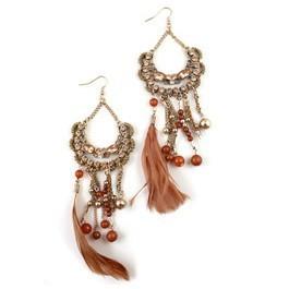 New Fashion Costume Jewelry Tassel Feather Drop Earrings Factory Wholesale