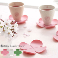 Three-dimensional flower anti-hot silica gel coaster coffee pad e9939