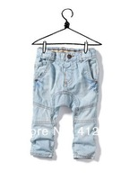 Free shipping Summer children's clothing boys girls Brand pp harem pants  thin jeans water wash retro light blue trousers