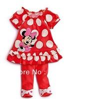 Free Shipping 5sets/lot Girl Fashion dots suits, Cartoon Minnie clothing sets,Shirt Sleeves T-shirt+pants 2 pcs set ,Soft wear
