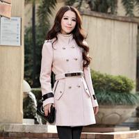 2013 New Year Fashion Women Slim Faux Fox Fur Collar Elegant Warm Spring Coat Long Sleeve Black/Red Woolen Cashmere Outwear 1019