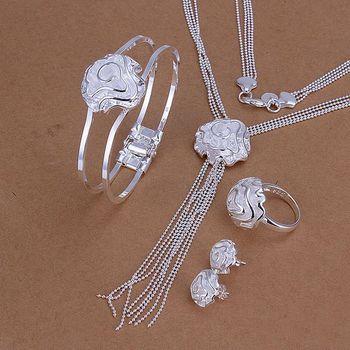 S1248 fashion jewelry sets 925 silver sets pendants bracelet earrings for women Roses suit ajoa java