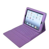 Free Shipping Leather Case Cover with Wireless Bluetooth Keyboard for iPad (Purple)