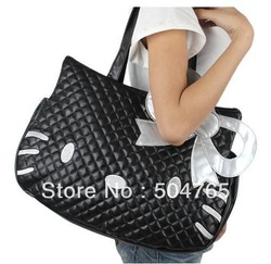 FREE SHIPPING 2013 Hello Kitty black leather-like tote bag purse,2013 handbag(China (Mainland))