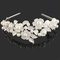New design platinum plated silver crystal & pearl flowers hair accessories Wedding Bridal tiara crown wholesale (UVOGUE UH0029)