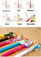 free ship 10pcs Creative stationery cute cartoon animals wings rainbow automatic ball-point pen 6models chosen