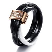 Luxury Good Workmanship Fashion Women Men Jewelry Black/White Ceramic Ring CZ Diamond Crystal Inlaid Elegant Design  224